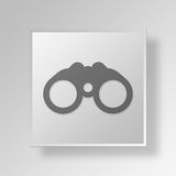 3D Binoculars icon Business Concept. 3D Symbol Gray Square Binoculars icon Business Concept Stock Images