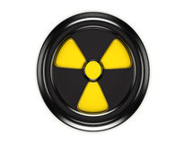 3d biohazard sign on black can lid. 3d biohazard logo on black can lid Royalty Free Stock Photos