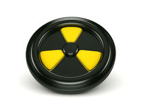 3d biohazard sign on black can lid. 3d biohazard logo on black can lid Royalty Free Stock Image