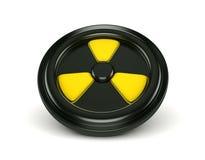 3d biohazardteken op zwarte kan deksel stock illustratie