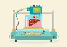 3D Bioprinter. Human Organs replicated. Illustration of a 3D Bioprinter duplicating human parts and organ such as liver and more. Vector EPS10 and Raster flat stock illustration