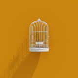 3d Bird Cage Icon. On Orange Background, Lack of Independence, Pet Wire Crate or Animal Cage, Freedom Concept Royalty Free Stock Images
