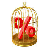 3d Bird cage percentage. 3d render of a bird cage with a percent symbol inside Royalty Free Stock Images