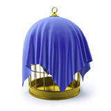 3d Birdcage draped in blue cloth. 3d render of a golden bird cage wrapped in blue velvet Royalty Free Stock Image