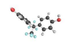 3d Bisphenol AF (BPAF),一种氟化的有机混合涂料结构  免版税库存照片