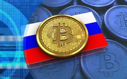 3d bitcoin俄罗斯旗子 图库摄影