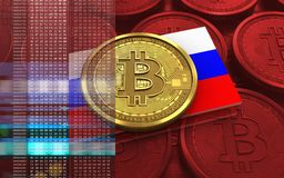 3d bitcoin俄罗斯旗子 库存照片