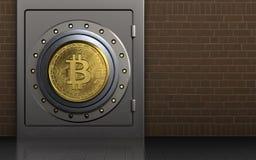 3d bitcoin安全保险柜 免版税库存图片