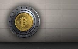 3d bitcoin安全bitcoin保险柜 免版税库存照片