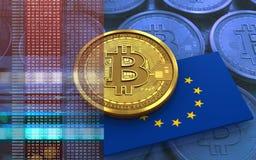 3d bitcoin欧盟下垂 免版税库存照片