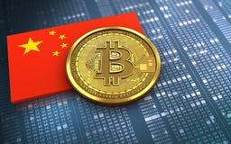 3d bitcoin瓷旗子 免版税库存照片