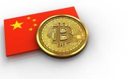 3d bitcoin瓷旗子 免版税库存图片