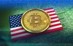 3d bitcoin美国旗子 库存图片