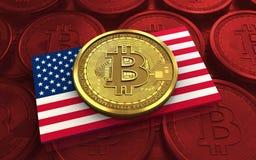 3d bitcoin美国旗子 免版税库存照片