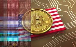 3d bitcoin美国旗子 免版税库存图片