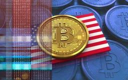 3d bitcoin美国旗子 免版税图库摄影