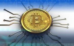 3d bitcoin芯片图解 库存照片