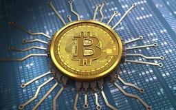 3d bitcoin芯片图解 库存图片