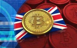 3d bitcoin英国旗子 库存照片