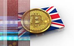 3d bitcoin英国旗子 免版税图库摄影