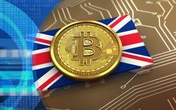 3d bitcoin英国旗子 图库摄影