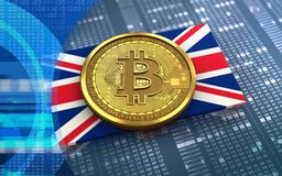 3d bitcoin英国旗子 库存图片