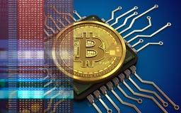 3d bitcoin计算机芯片 免版税库存图片