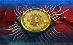 3d bitcoin计算机芯片 免版税库存照片