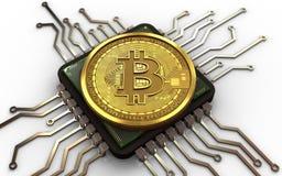 3d bitcoin计算机芯片 库存照片