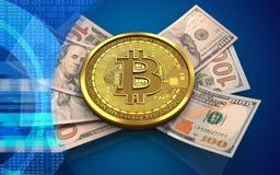 3d bitcoin钞票 免版税库存照片