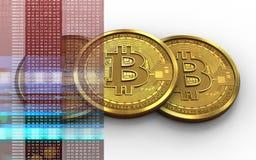 3d bitcoin堆 免版税图库摄影
