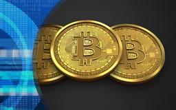3d bitcoin堆 免版税库存照片