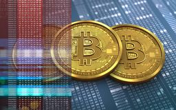 3d bitcoin堆 免版税库存图片