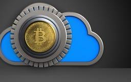 3d bitcoin bitcoin bezpieczna skrytka Zdjęcie Royalty Free