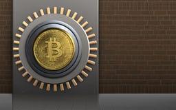 3d bitcoin bitcoin bezpieczna skrytka Zdjęcie Stock