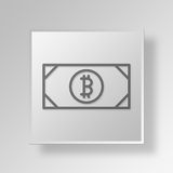 3D Bitcoin Bill icon Business Concept. 3D Symbol Gray Square Bitcoin Bill icon Business Concept Stock Photos
