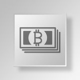 3D Bitcoin Bills icon Business Concept. 3D Symbol Gray Square Bitcoin Bills icon Business Concept Stock Image