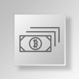 3D Bitcoin Bills icon Business Concept. 3D Symbol Gray Square Bitcoin Bills icon Business Concept Stock Images