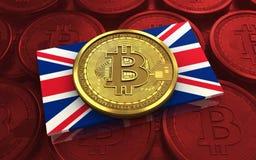 3d bitcoin Britse vlag Royalty-vrije Stock Afbeeldingen