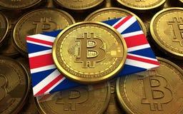 3d bitcoin Britse vlag Stock Afbeelding