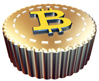 3d Bitcoin button digital currency. On white background Stock Photos