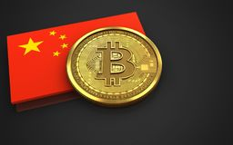 3d bitcoin china flag. 3d illustration of bitcoin over black background with china flag Stock Images