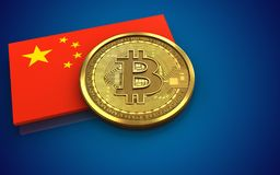 3d bitcoin china flag. 3d illustration of bitcoin over blue background with china flag Royalty Free Stock Photos