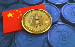 3d bitcoin china flag. 3d illustration of bitcoin over blue coins background with china flag Royalty Free Stock Photography