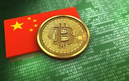 3d bitcoin china flag. 3d illustration of bitcoin over green binary background with china flag Stock Photo