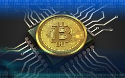 3d bitcoin chip komputerowy ilustracji