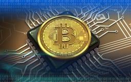 3d bitcoin chip komputerowy ilustracja wektor