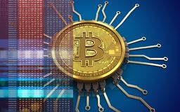 3d bitcoin chip schema. 3d illustration of bitcoin over blue background with chip schema Royalty Free Stock Photography