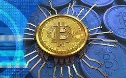 3d bitcoin chip schema. 3d illustration of bitcoin over blue coins background with chip schema Royalty Free Stock Images