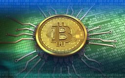 3d bitcoin chip schema. 3d illustration of bitcoin over green binary background with chip schema Stock Photo